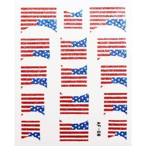 ネイルシール きらきら逆フレンチアメリカ国旗 AF08|neocolle