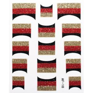 フレンチネイルシール きらきら逆フレンチ ドイツ国旗 AF10 貼るだけ ジェルネイルアート|neocolle