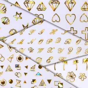 オーロラメタルパーツのようなネイルシール 貝 シェル チェーン アルファベット 椰子の木 パームツリー ダイヤモンド 十字架 クロス メタリック 貼るだけ|neocolle
