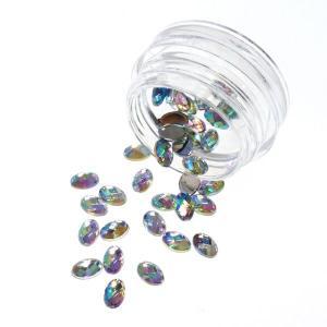 ネイルパーツ 宝石カットのアクリルラインストーン オーロラカラー 6mm レジンパーツ|neocolle