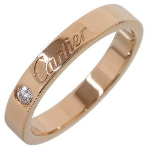 (カルティエ)Cartier 1Pダイヤ エングレーブド リング 8号(48) K18PG|neonet05