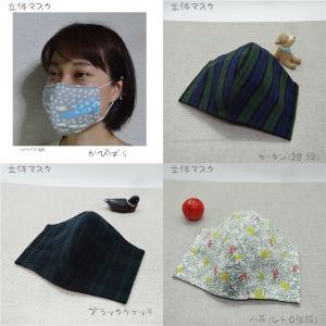 【マスク】子供用 ハンドメイド 立体 ガーゼ ネコ 猫 ねこ 花 ブラックウォッチ 柄