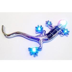 ヤモリ ソーラー LED 8灯 ライト イルミネーション ランプ カー アクセサリー 貼り付け|neosheep