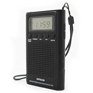 デジタルシンセチューナーAM/FM2バンドポケットラジオ/アラーム時計・オンタイマーつき/乾電池式/ブラック|neosheep