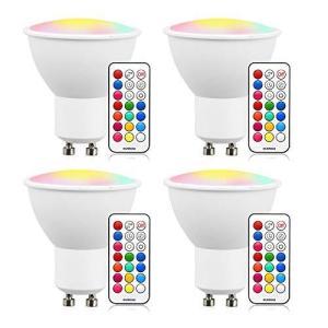 LED電球 GU10口金 30W形ハロゲン相当 RGB 調光 調色 led マルチカラー16色選択 リモコン操作 記憶機能付き 消費電力3W 発光角1|neosheep