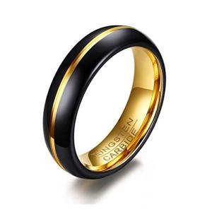 Rockyu ジュエリー アクセサリー タングステン リング ゴールド メンズ指輪 シンプルリング ブラック 6mm (金黒 16)|neosheep