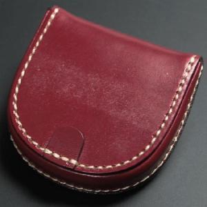 馬蹄形 コインケース 馬蹄型 ブライドルレザー 手縫い 日本製 レッド nep
