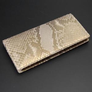 パイソン財布 日本製 メンズ長財布(小銭入れなし)パイソン・蛇革 レザー 無双 ゴールド・薄金 金運 開運 招福|nep