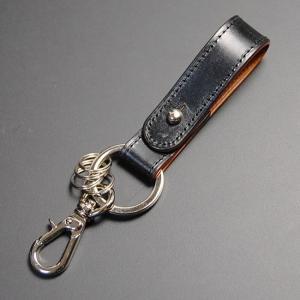 日本製 キーホルダー メンズ 革 キーリング キーフック 牛革 本革 レザー ブライドルレザー ブラック|nep
