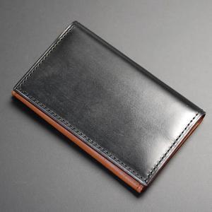 日本製 名刺入れ カード入れ ・カードケース カード3枚収納 牛革 本革 レザー ブライドルレザー ブラック|nep
