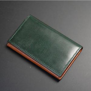 日本製 名刺入れ カード入れ ・カードケース カード3枚収納 牛革 本革 レザー ブライドルレザー グリーン|nep