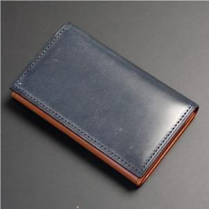 日本製 名刺入れ カード入れ ・カードケース カード3枚収納 牛革 本革 レザー ブライドルレザー ネイビー|nep