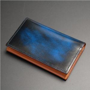 日本製 名刺入れ カード入れ ・カードケース カード3枚収納 牛革 本革 レザー アドバンレザー ブルー|nep