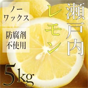 国産 広島県 瀬戸内 レモン 5kg ( ノーワックス・減農薬 ) 糖度の高い大長産 ( 訳あり )...