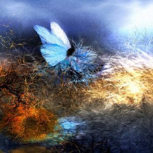 絵画 「露払いの青い蝶」117-299 ネルバ作 ジクレー版画 nerva