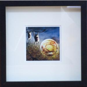 絵画 ネルバ作「夜中のひなたぼっこ」額付き 2015年製作 限定100枚  ジクレー版画 ヨーロッパで大人気 215-255 nerva