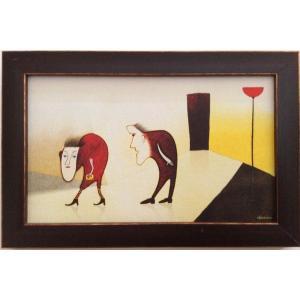 額縁付き 絵画「あら、奥さんったら」 ジクレー版画 ヨーロッパで大人気 ネルバ作 310-191|nerva