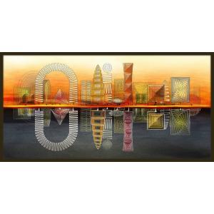 額装つき 絵画「らせんの街」 ジクレー版画 ヨーロッパで大人気 ネルバ作 313-219|nerva