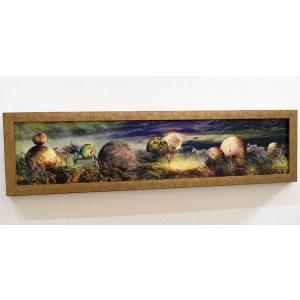 額縁付き 絵画 ネルバ作「シマウマが光体と出逢える場所」317-301 ジクレー版画|nerva