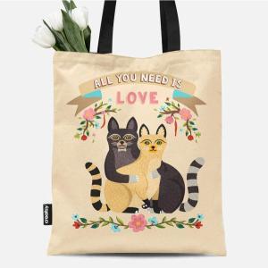 【コットン】I love Cat(16種類イラスト) VH-DTPオックスフォードカットクロス|nesshome
