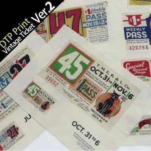( カットクロス ) vintage ticket ver2(ヴィンテージチケット)ハンドスパンイラストカット【 商用利用可 】|nesshome