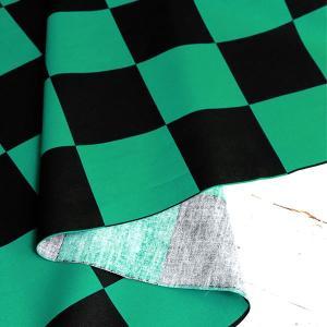 ( コットン )  ICHIMATSU Black&Green 【 市松模様 格子柄 ブロード 】|nesshome