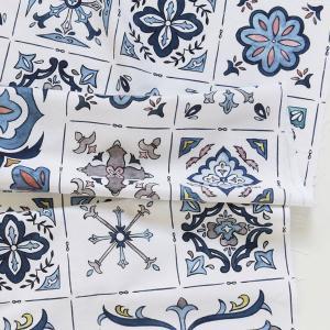 生地 布 【コットン】ブルータイルアズレージョ(Blue Tile Azulejo)オックス 手芸 生地 布 コットン 生地|nesshome