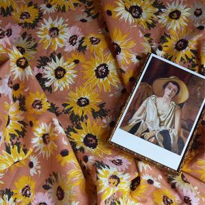 ( リネン ) ヴィンセントサンフラワー (Vincent's Sunflower ) リネン 【 手作り 手芸 花柄 】 【 商用利用可 】【 新商品 特別価格 】|nesshome
