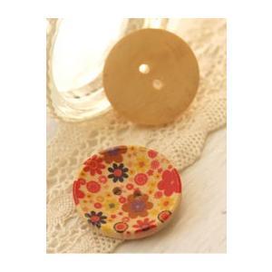 【ボタン】イラストウッドボタン(30mm凹type) - リンク(レッドおしゃべり)2個 nesshome