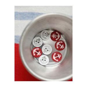 【ボタン】Red & White anchor ボタン(2個)|nesshome