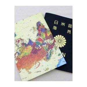【Paperwalletペーパーウォレット】World Mapパスポートカバー【Printed on DuPont(TM)Tyvek(R)】|nesshome