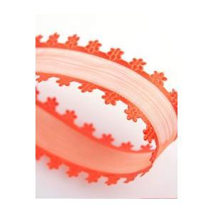 【手芸リボン】フラワーオーガンジーリボン(オレンジ)) +販売サイズ: 25mm x 90cm かわ...