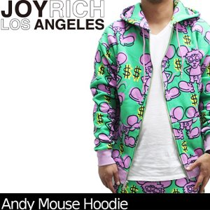 【SALE!!】JOYRICH ジョイリッチ U1317HDD キースヘリング 総柄ジップパーカー Andy Mouse Hoodie■AP_10off|nest001