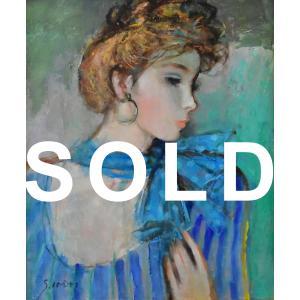 今井幸子 「スカーフの女」 人物画 油彩 F8号 真作保証 パリの街を彩る女性たち 在仏人気画家!|net-gallery-ib