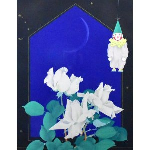 中島千波 「白い薔薇」 静物画 リトグラフ 8号 真作保証 極上 美品! ご奉仕品! 東京芸大名誉教授    |net-gallery-ib