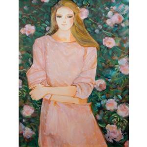 中島裕子 「バラの園」 人物画 油彩 F10号 真作保証 フレッシュでエレガント! 日本のカシニョール |net-gallery-ib