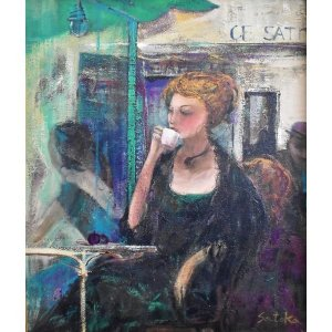 佐々木里華 「カフェの女」 人物画 油彩 F8号 真作保証 一枚の繪で活躍! |net-gallery-ib