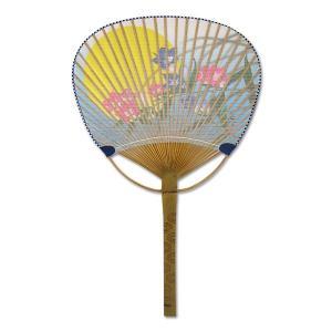 中万月 竹うちわ すだれ貼 「月に桔梗」|net-shibuya