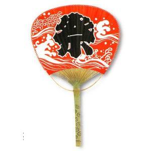 平柄竹うちわ 中万月 赤 祭|net-shibuya
