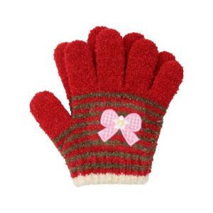 [半額]子ども用手袋 Cuty Kids <5本指タイプ> ワインレッド リボンワッペン柄|net-shibuya