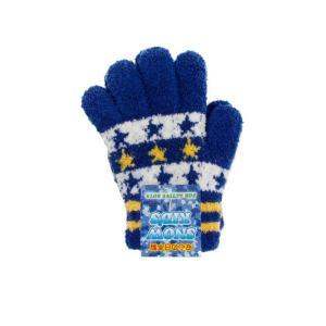 子ども用手袋 SNOW KID'S <5本指タイプ> ネイビー ボーダー星  45420|net-shibuya