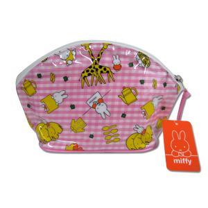 〔70%OFF〕miffy☆ミッフィー シェルポーチ(ギンガムチェック柄)ピンク|net-shibuya