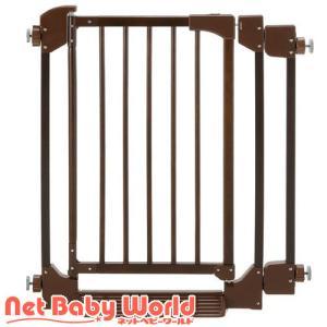 木のオートロックゲート (ダークブラウン) 【設置幅69〜86cm】【拡張フレーム1本付】 リッチェル Richell 木製 オートロック|netbaby