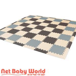 フロアーマット オリジナルツートンカラー (グレー×ブラウン×ベージュ)  フロアマット 【厚さ16mm・枚数77枚】|netbaby