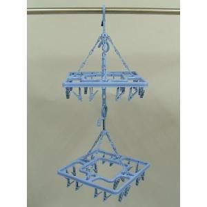 2段でも単独でも使える 20個ピンチ付角型ハンガーが2個 連結フック付 商品使用時サイズ:約340×...