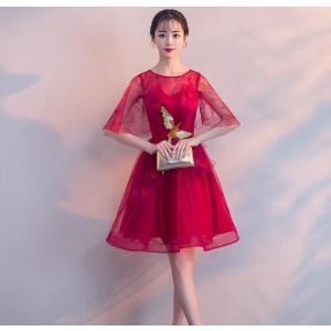 カラードレス ミニ パーティードレス コンサート ワンピース 花嫁ウェディングドレス結婚式 披露宴 ...