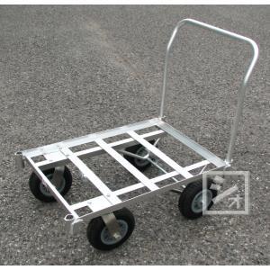 アルミ製4輪コンテナカート (駆動式) 空気入りタイヤ仕様 (台車)|netonya