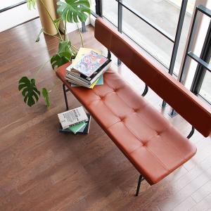 【商品について】 PVCとスチールを組み合せた背もたれ付きベンチ。 赤みがかったブラウンがカフェ風の...