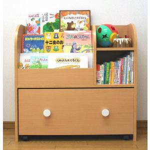絵本ラック おもちゃ箱付き キャスター付き 幅80cm 子供家具 na-kids 組立家具 送料無料 即納