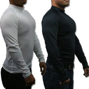 メンズ 長袖 コンプレッションシャツ 4サイズ(M/L/LL/3L)2色より (ハイネック/吸汗速乾/伸縮素材/UV加工)|netshop-est